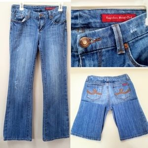 7 FOR ALL MANKIND DISTRESSED BOOTCUT JEANS SZ 8